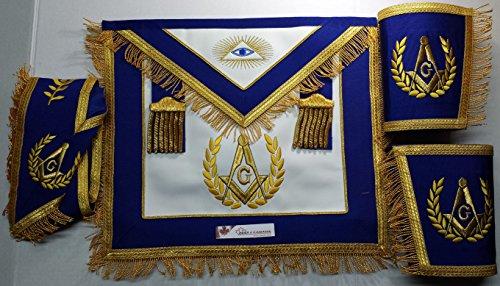 Masonic Blue Lodge Past Master Apron with Fringe Set Apron,Collar Gauntlets (Fringed Gauntlet)