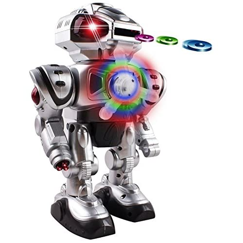 Android Battery Operated Disc Shooting Toy Robot Walking, Flashing Lights, Talking, Spinning, Disc Shooting Toy Robot (Silver) supplier