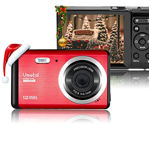 Vmotal 12 Mega Pixels 3″ LCD Rechargeable HD Digital Camera,Video Camera Digital Students Cameras,Indoor Outdoor for Adult/Seniors/Kids (Red)