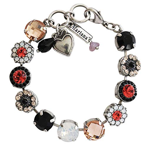 Mariana Silvertone Large Flower Shapes Crystal Bracelet, 7 Pomegranate Black Light Peach 4084 1045