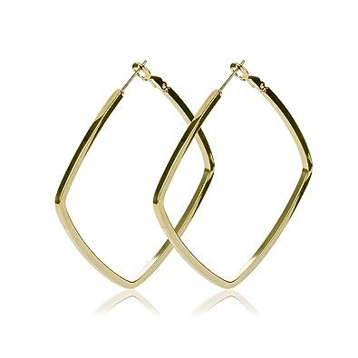 Rectangular Shaped 9ct Gold Hooped Earrings
