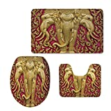 3 Piece Bath mat Set,Elephants Decor,Elephant Carved Gold Paint on Door Thai Temple Spirituality Statue Classic,Custom Made