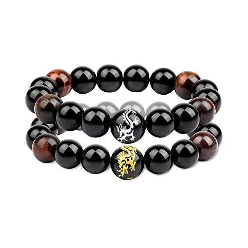 (Citled 2Pcs Unisex Bracelet Natural Rock Bead 12mm Tiger Eye Stone Bead (Golden&Silver) Dragon Pattern Stretch Charm Bracelet)