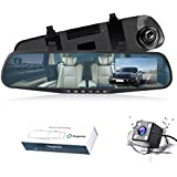 Dual Lens Car Camera, Oxygentle Rear View Reverse Mirror Backup Camera, 1080P Full HD Dash Cam Car Recorder DVR with 4.3 Inch Screen, 120 Degree Wide Angle Lens with G-Senor