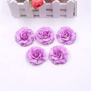 Flower Heads in Bulk Wholesale for Crafts Artificial Silk Mini Rose Fake Flower Head Wedding Home Decoration DIY Party Festival Decor Garland Scrapbook Gift Box Craft 30pcs/lot (Rose red) 5