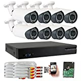 GW 5-In-1 1080P 8 Channel DVR 2MP 4X Optical Zoom Security Camera System with (8) x True HD 1080P Waterproof Auto-Focus 4X Motorized Zoom Bullet Camera, 130ft Night Vision