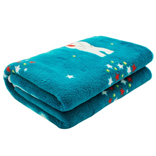 Scheppend Fluffy Flannel Fleece Pet Dog Bed Throw Blanket Cover for Couch, 29.5 x 39.5 Inches Cute Animals Design Doggy Blankets for Small Medium Puppy Cats (Blue, Santa Bear)