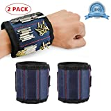 2 Pack Magnetic Wristbands for Men & Women, Screwdriver Bit Holder Carpentry Tools Belt Wrist Band Bracelet Strap Breathable with 3 Powerful Magnets for Drill Bits Screws Nails Bolts Nuts. (Blue)