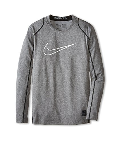 Nike Kids Boys Cool HBR Fitted Long Sleeve (Little Big Kids), Carbon Heather/Black/White, SM (8 ()