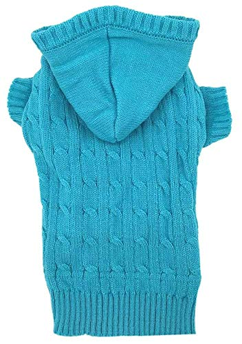 Lanyar Sky Blue Dog Classic Cable Pet Sweater Hoodie for Puppy Small Dogs, Small (S) Size ()