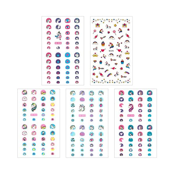 Madholly 10 Sheets Self Adhesive Unicorn Nail Art Stickers Decals Manicure Decoration for Little Girls for Fingernails… 6