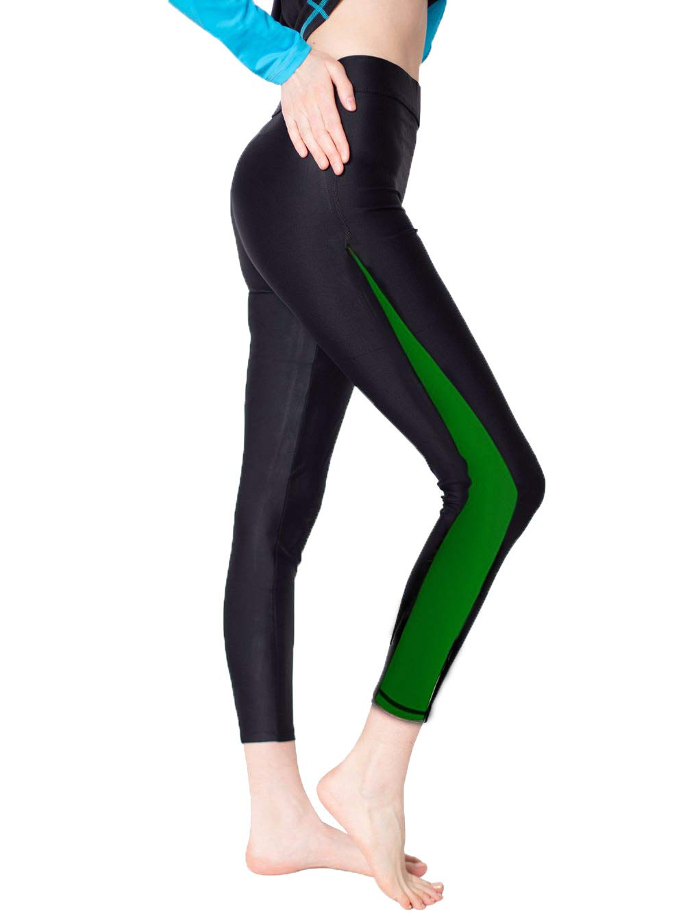 Scodi Women's Surfing Leggings Swimming Tights (S, Green)