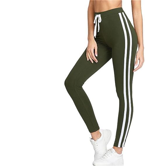Kfsasa Armée Vert Tape Côté Sport Leggings Femmes Taille Haute Cordon Long  Pantalon Printemps Active Workout Leggings  Amazon.fr  Vêtements et  accessoires adb91980365