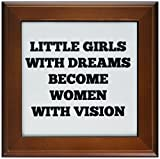 3dRose ft_201958_1 Little Girls with Big Dreams Become Women with Vision Black on White Framed Tile, 8 by 8-Inch