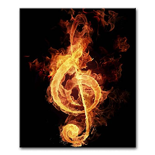 Canvas Print Wall Art Painting For Home Decor Fire Violin Key Sign Music Note Paintings Modern Stretched Framed Artwork The Picture For Living Room Decoration Abstract Pictures Photo Prints On Canvas