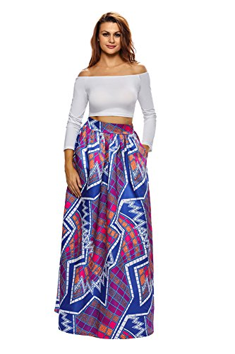 VIGVOG Women's Ethnic Plus-Size African Print Pull-on Maxi A-line Skirt (S, LC65008-8)