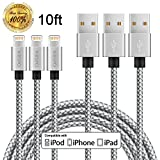 Wbspo 3 Pack 10FT Ultra Long Charger Cable Nylon Braided USB Charging Cord for Apple iPhone 7/7 Plus/6s/6s Plus/6/6 Plus/5s/5/se, iPad Pro, iPad Air, iPad Mini (Silver Gray)