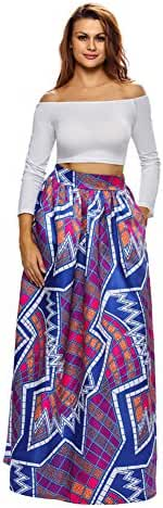 VIGVOG Women's Ethnic Plus-Size African Print Pull-on Pleated Maxi A-line Skirt