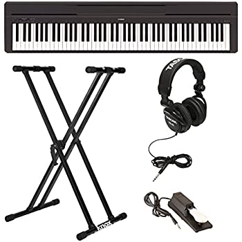 yamaha piano keyboard. yamaha p45b digital piano with knox double x keyboard stand, full-size headphones,