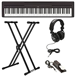 Yamaha P45B Digital Piano with Knox Double X Keyboard Stand, Full-Size Headphones, and Sustain Pedal