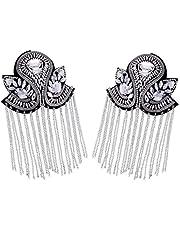 2pcs Fashion Tassel Epaulet Rhinestones Bead Diamond Punk Coat Suit Brooch Tassel Badge Shoulder Patches