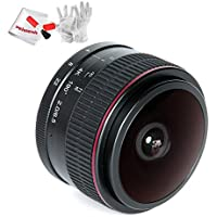 Meike 6.5mm F/2.0 APS-C Manual Focusing Fisheye Lens View Angle 190 Degree for Canon Mirorrless Camera M1 M2 M3 with Pergear Cleaning Kit
