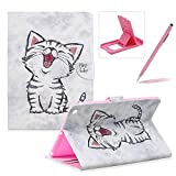 Wallet Leather Case for iPad 2/3/4,Herzzer Stylish Pretty [Cute Kitten Pattern] PU Leather Purse Folio Full Body Stand Card Slot Cover with Soft TPU