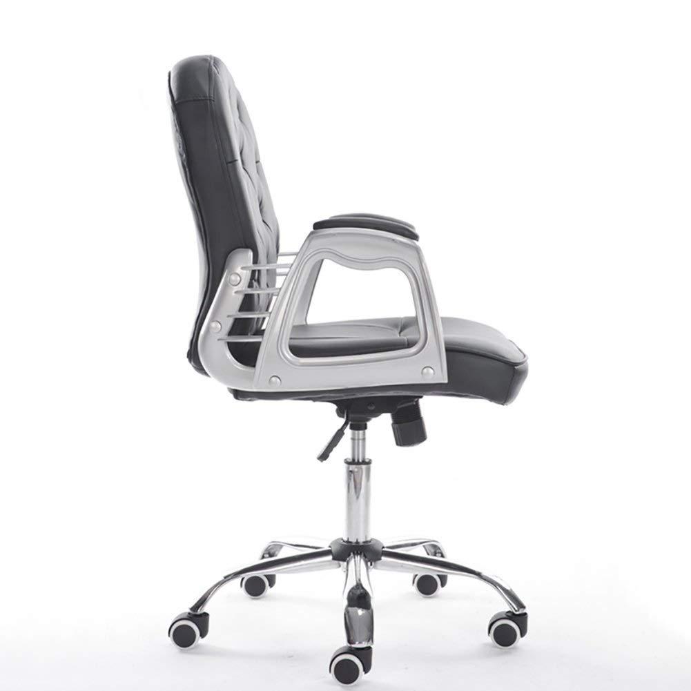 BAR STOOL premium sammet datorstol med mellanrygg – kontorsstol justerbar svängbar sammet executive extra stoppning Grått Svart