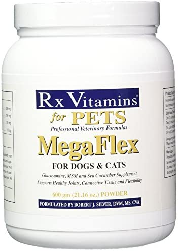 Rx Vitamins for Pets MegaFlex for Dogs and Cats – Glucosamine MSM – Supports Joints Tissue Flexibility – 600g Powder