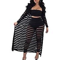 OLUOLIN Women Sheer Mesh 3 Piece Outfit Tube Crop Top Long Kimono Cardigan Cover up Bodycon Pants Suit Set