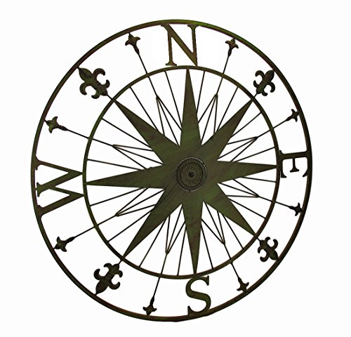 Zeckos Compass Rose Fleur De Lis Vintage Finish Metal Wall Hanging (Green)