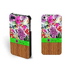 Individualized Floral Vintage Pattern Hard Wood Print Iphone 4 4s Case Cover for Women (black)