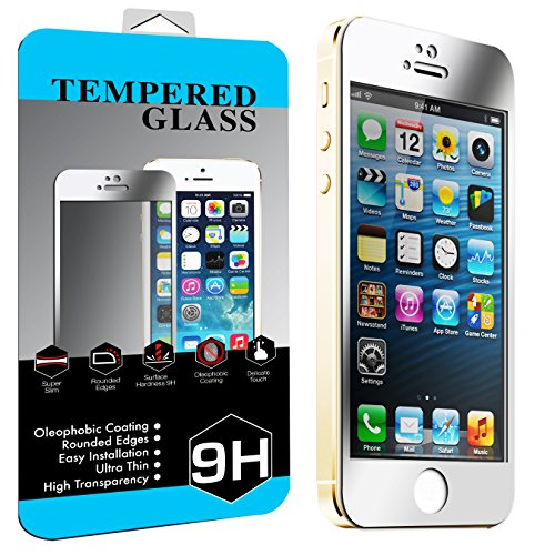 iPhone 5 Colorful Screen Protector Tempered Glass, FRONT ONLY Nue Designs Cases TM Colored Tempered Glass Body Sticker 2.5D Round Edge 9H Hardness Premium Tempered Glass Screen Protector For iPhone 5/5s/5G (SILVER)