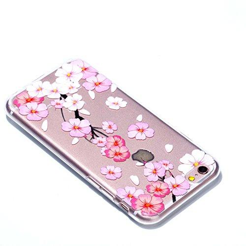 iPhone 6 Plus Slim Case, Aeeque Durchsichtig Silikonhülle für iPhone 6S Plus Generation, Kratzfeste TPU Klar Transaprent Flexibel Weich Bumper Back Case Cover Tasche Schön Muster - Rosa und blau Blume A- Rosa und Weiß Pfirsichblüte
