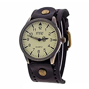 Hunputa Vintage Leather Band Watch Mens Womens Wristwatch Quartz Watch Gift