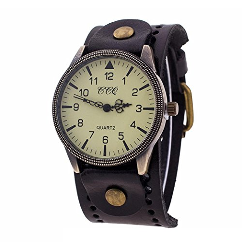 Bangle Mens Bands (Hunputa Vintage Leather Band Watch Mens Womens Wristwatch Quartz Watch Gift (Black))