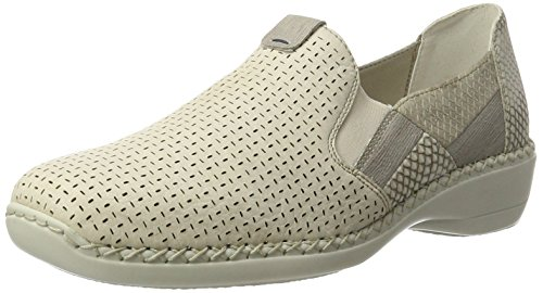 Rieker Women's 41396 Loafers Beige (Crema/Staub/Kiesel/Hay / 60) aQhidShYF