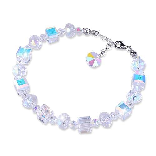 X-Mile Azúcar Cube Cristal Pulsera Modelos Femeninos Plata de Ley Molores Múltiples Bracelet para