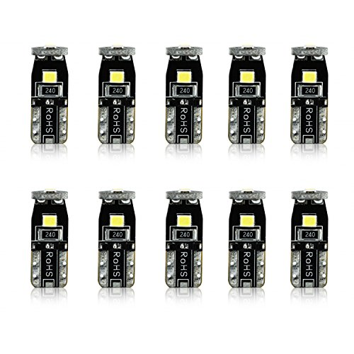JDM ASTAR 10pcs Super Bright 194 168 175 2825 T10 PX Chipsets LED Bulbs,Xenon White (Best Value on the market) ()