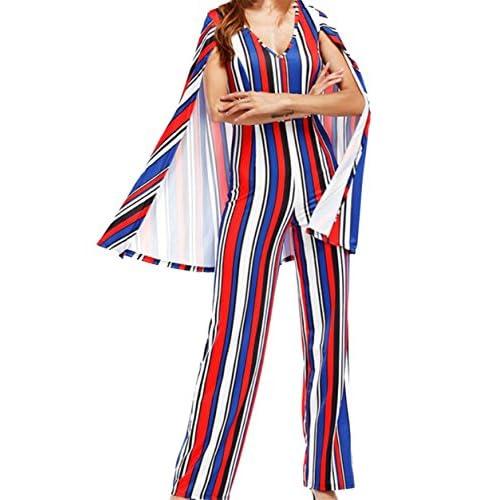 Cheap desolateness Womens Sleeveless High Waist Poncher Stripe Printed V Collar Jumpsuit for sale