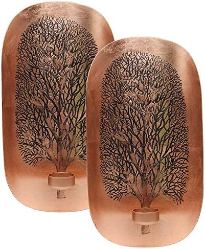 Decozen Wall Art T Light Holder with Tree of Life Design A Symbol of Growth and Strength in Copper Color Handcrafted by skilled Artisans Wall D cor Accents for Living Room Hallway Family Room Set of 2