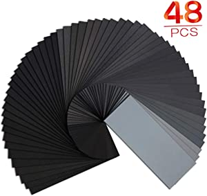 Sand paper, Premium Wet Dry Waterproof Sandpaper, 48PCS 120 to 3000 Assorted Grit Sanding Paper for Wood Furniture Finishing, Metal Sanding and Automotive Polishing, 9 x 3.6 Inches.