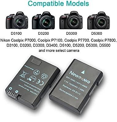 P7700 D5500 P7100 Vemico EN-EL14 D3200 P7800 D5600 D3300 D3100 Cargador de bater/ía para Nikon D5100 D5300 D5200 2 Unidades P7000