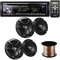 Pioneer DEH-X6800BT Single DIN Bluetooth In-Dash CD/AM/FM Receiver 4 JVC CSJ620 Car Speakers 300W 6.5 CS Series 2-Way Coaxial - 50 Feet Speaker 16g
