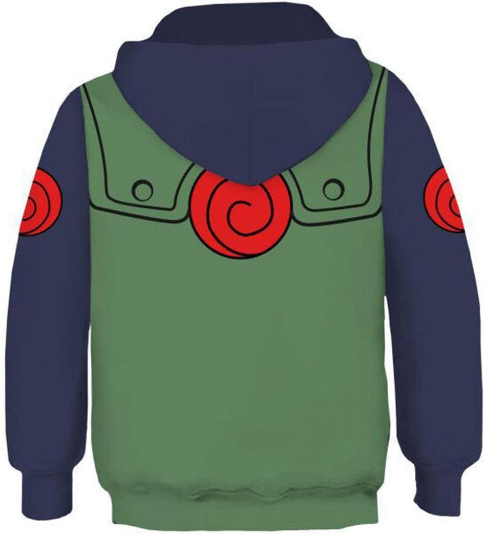 Hatake Kakashi Naruto Sweatshirt Anime Unisex Rei/ßverschluss Lange /Ärmel Kapuzenpullover Jacke Cosplay Kost/üm Kinder Jungen Gr/ün XS
