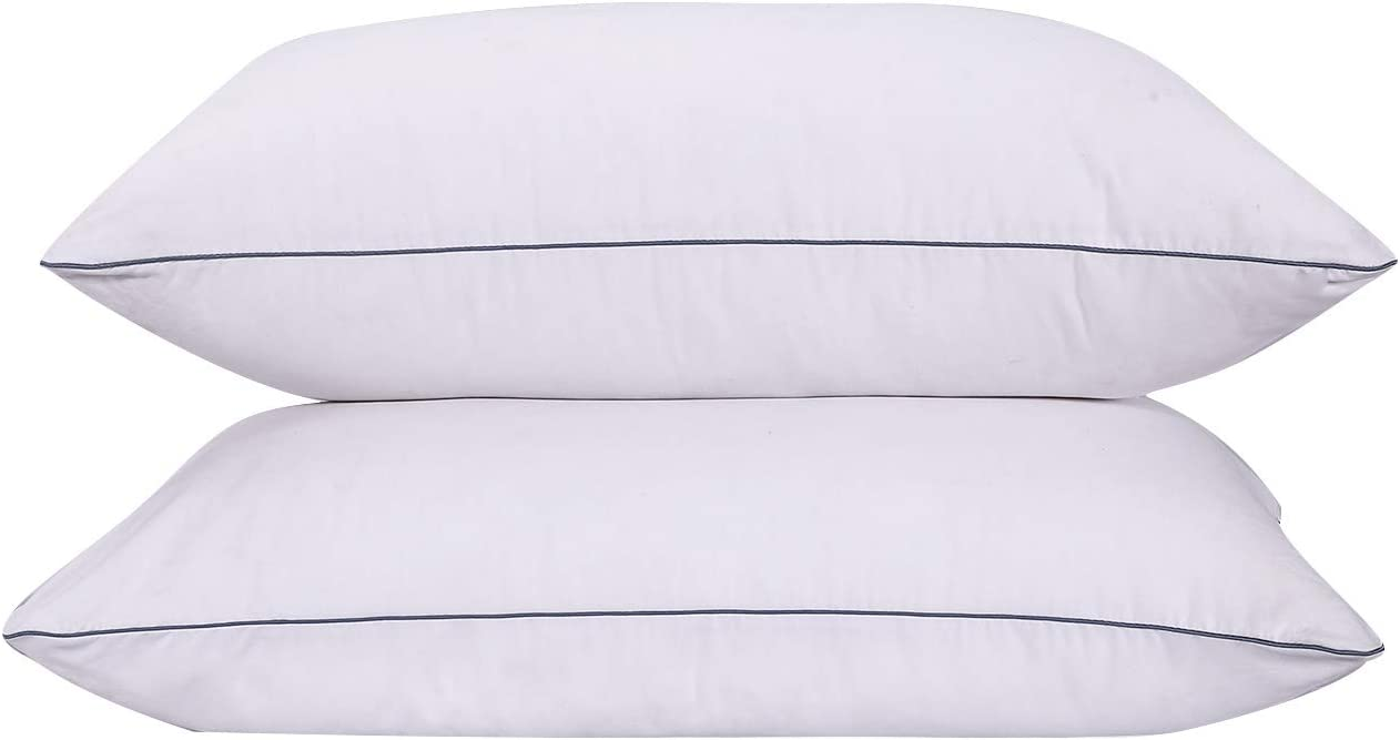 Hotel Style Premium Bed Pillow,Standard Size 20 x 26 Inches Navy Corded Edge VODOF 2 Pack Quilted Pillow for Side Sleeper