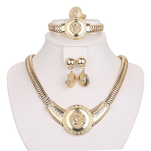 African Lionhead Medal Style Women Jewelry Set Earring Bracelet Necklace Ring Gold Plated Crystal