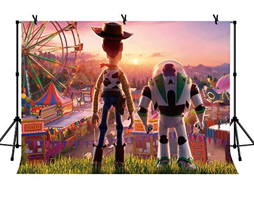 LYLYCTY 7x5ft Toy Story Party Supplies Cartoon Toy Backdrop for Baby Shower Children Kids Scene Setters Wall Decoration Photography Photo Studio Props -