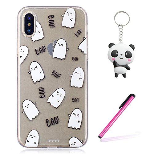 Coque iPhone X Boo blanc Premium Gel TPU Souple Silicone Transparent Clair Bumper Protection Housse Arrière Étui Pour Apple iPhone X / iPhone 10 (2017) 5.8 Pouce Avec Deux cadeau