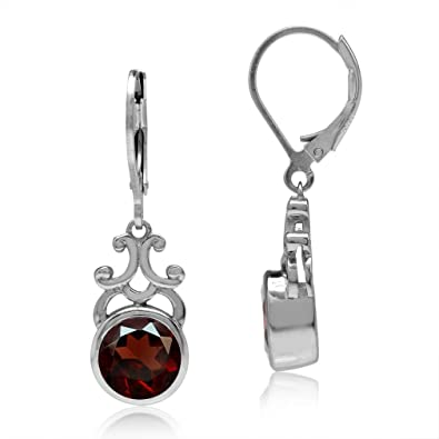 Sterling Silver 2.2ct Garnet Round Leverback Earrings 2wkQxl
